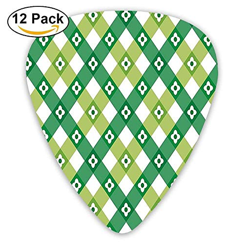Striped Retro Flower Motif With Cross Line Groovy Old Fashion Print Guitar Picks 12/Pack - American Zebra Line