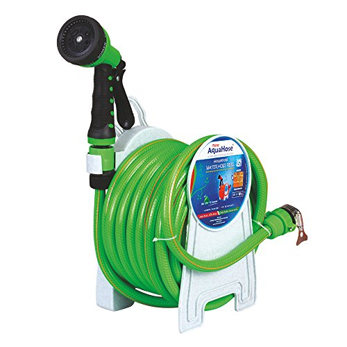 Household Water Hose Reel For Cleaning Supplies – Fixed Type 15mtr ISI Marked Hose (with Tap Adapter with easy to use Butterfly Clamp & Bead Chain to Tighten) | AquaHose