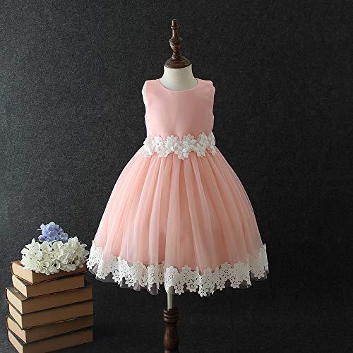 (QTONGZHUANG Kurzarm Dress_Girl Kurzarm Kleid Koreanisch Dreidimensional Blumenkind Kleid, Pink, 150cm)