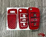 Kohlenstofffaser Rot Schlüssel Bezüge Abdeckung Skin Aufkleber Bezüge für Audi Schlüsselanhänger A1, A2, A3, A4, A5, A6, A7, A8, Tt , Q2, Q3, Q5, Q7, Rs, S LINE , Quattro
