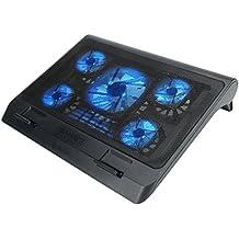 ENHANCE Base de Refrigeración Para Ordenador Portátil, Soporte de enfriamiento con LED's, color azul y puertos USB para conectar dispositivos