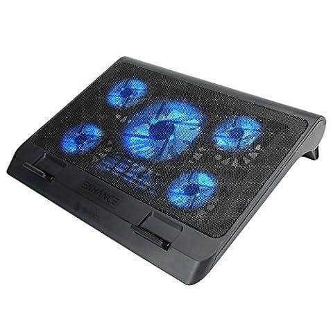 ENHANCE GX-C1 Support Refroidisseur PC Portable (40 x 32.4 cm) – 5 Ventilateurs avec LED Bleus & 2 ports USB – Parfait pour Ordinateur Portable , Notebook de 17 Pouces Apple MacBook , Asus ,