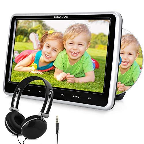 "BIGASUO 10.5\"" Auto DVD Player Tragbarer Kopfstütze DVD Monitor mit Kopfhörer, Unterstützung Sync Bildschirm, IR&FM, USB/SD, AV Out & IN"