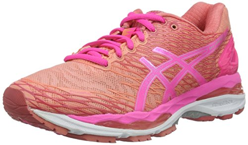 Asics Women's W S Gel-Nimbus 18 Running Shoes, Multicolor (Peach Melba/Hot Pink/Guava),...