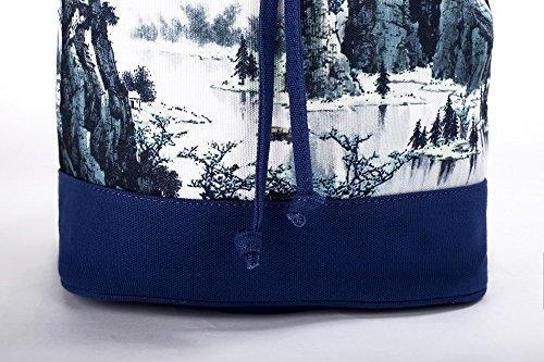 Lantra Besa Canvas Tasche Schultertasche Umhängetasche Rucksack für Damen und Mädchen BY0001 - R13 Mehrfarbig Blumen Muster R16
