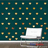 #9: BikriKendra - Hearts Golden 50-3D Acrylic Mirror Wall Décor Stickers for Home & Office - Factory Outlet - Premium Quality