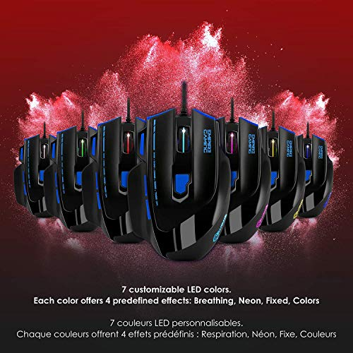 EMPIRE GAMING - Nouveau - Souris gamer filaire Hellhounds gamers - 7200 DPI - 7 boutons programmables avec Logiciel - Rétro-éclairage RGB - ... 8