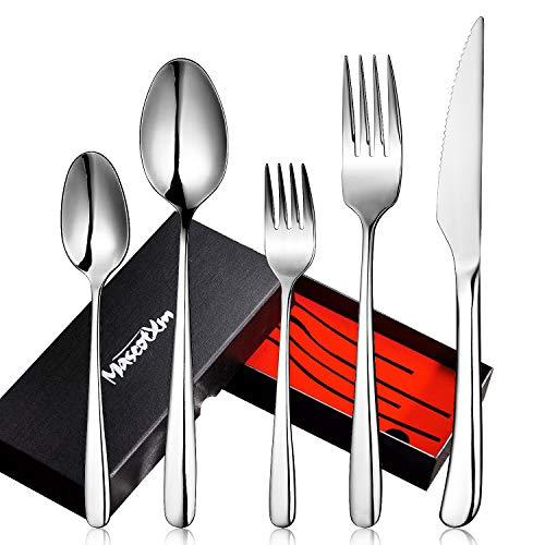 Mascot XM Besteckset,Besteck aus rostfreiem Stahl 5-teiliges Edelstahl Besteck Set mit Messer Löffel Gabel- Spiegelpolitur & Spülmaschinenfest -