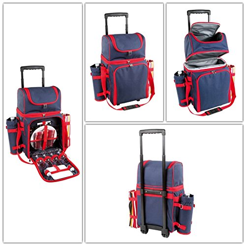 Picknick-Trolley mit Camping-Geschirr und Besteck (Picknick-Tasche für 4 Personen, Isoliertasche, Kühltasche, Einkaufs-Trolley)