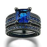 Beydodo Vergoldet Damen Ring Schwarzringe Prinzessschliff Blau Zirkonia Verlobungsring Schwarz Hochzeitsringe Größe 57 (18.1)