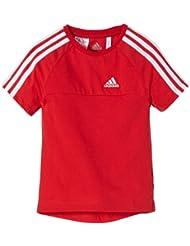 adidas T-Shirt Essentials 3S - Camiseta de fitness, color rojo, blanco, talla 6 años (116 cm)