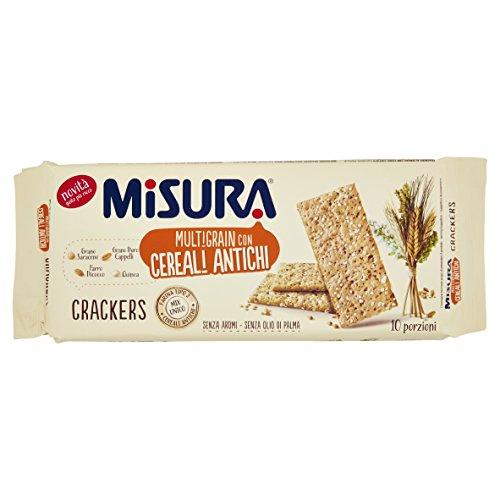 Misura Crackers Multigrain con Cereali Antichi, 50% Grassi Salatini Snack - 350 g