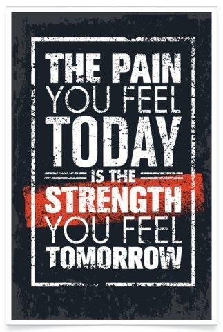 PosterHouse24 PH001A2 Fitness Poster Pain Bodybuilding Motivation 235g/qm Premium Satin Fotopapier 42 x 61 cm