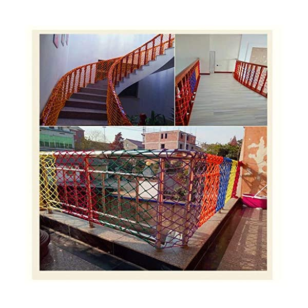 Children's Outdoor Railing Safety Net, Safety Net, Decorative Net Protection Fence Climbing Rope Truck Cargo Trailer Mesh Suitable For Children Toys Pet Outdoor Terrace Balcony Railing Stairs Playgrou SFMND ▲Multi-use Protection Net:Family balcony and railing balcony stairs safety net banister stair anti-cat climbing, anti-high fall and other intensive protection; Wall ,home, theme party hotel, guesthouse, cafe, bookshop, restaurant, decoration,hanging ect. ▲Characteristics of Decoration Net: Soft material, light mesh, multi-layer warp and weft, precise wiring, workmanship; high temperature sunscreen, waterproof; clear lines, anti-slip endurance and anti-wear. ▲ safety net wire diameter 6MM, mesh spacing 6CM. Color: color rope net. Our protective mesh can be customized according to your needs. 3