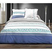 Douceur de noches HC31279Lemon Azul Juego 3piezas funda nórdica de algodón, 220x 240cm), multicolor
