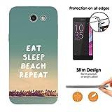 002754 - Eat Sleep Beach Repeat Holiday Design Samsung Galaxy J5 (2017) SM-J530 Fashion Trend Leichtgewicht Hülle Ultra Slim 0.3MM Kunststoff Kanten und Rückseite Protection Hülle - Clear