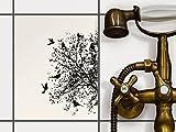 creatisto Fliesen | Design-Dekorsticker Küchenfolie Bad-Fliesen Badgestaltung | 20x25 cm Design Motiv Tree and Birds 2-1 Stück