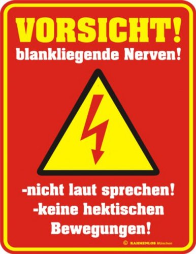 Preisvergleich Produktbild Blech-Schild mit Motiv von Multinatix - Nerven 17cm x 22cm