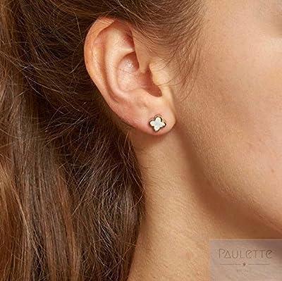 """Boucles d'oreilles - puces""""Trèfle"""" en nacre et acier inoxydable"""