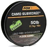Fox Submerge Camo Lead free woven Leader - Vorfachschnur zum Karpfenangeln, Vorfachmaterial für Karpfenmontagen, Karpfenschnur, Tragkraft:50lbs/22.7kg