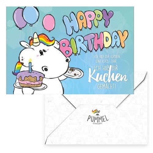 Pummeleinhorn Grußkarte - Happy Birthday! (bunt)