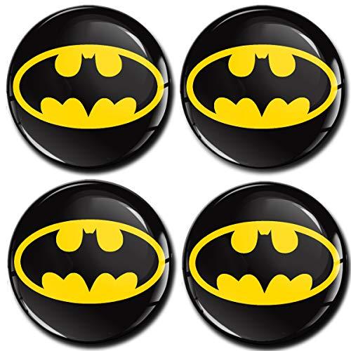 Skino 4 x 60mm Adesivi Resinati 3D Gel Stickers Auto Coprimozzi Logo Silicone Autoadesivo Stemma Adesivo Copricerchi Tappi Ruote Batman A 460
