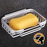 Wangel Adhesivo Fuerte Jabonera, Pegamento Patentado + Autoadhesivo, Aluminio, Acabado Cepillado