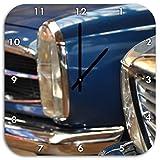 Wunderschöne Mercedes Oldtimer, Wanduhr Quadratisch Durchmesser 48cm mit schwarzen spitzen Zeigern und Ziffernblatt, Dekoartikel, Designuhr, Aluverbund sehr schön für Wohnzimmer, Kinderzimmer, Arbeitszimmer