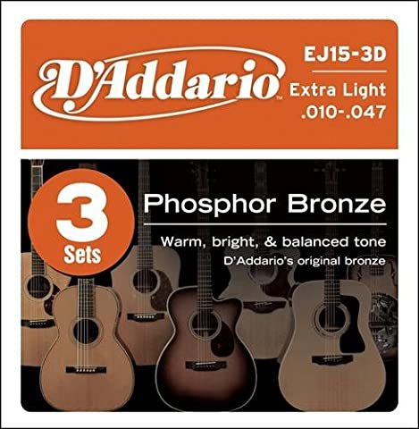 D'Addario EJ15 Phosphor Bronze XL 3D (3 Sets)