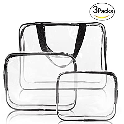 SIMCAST 3 in 1 Gift Makeup Bags & Cases Plastic Bag Clear PVC Travel Bag Brushes Organizer for Men and Women Travel Business Bathroom