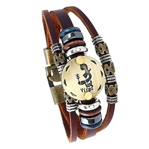 MeiPing Sternzeichen Constellation Astrologie Armband Multilayer Charm Leder Armband Armreif