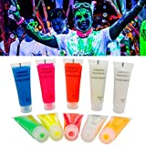 Body Paint, Kapmore 10Pcs Neon Fluorescent Black Light Face Pittura UV Per La Festa