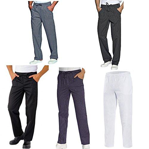 Pantaloni da Lavoro,Slim,con Laccio,Cotone,Cucina,Estetista,Ristorante,Pizzeria,Chef,Cuoco,Infermiere (XS, Bianco)
