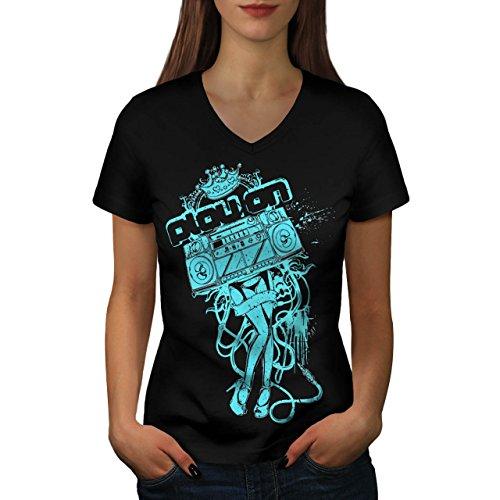 Band Tanzen Verein Dj Musik Kostüm Damen M V-Ausschnitt T-shirt | (Kostüm Füße Roboter)