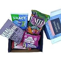 SnackBaron Premium Vegane Snack-Box: 6 Snacks mit Riegel, Chips, Energie Balls, Nüssen - Vegane Geschenk Box- Veganer Snacks für unterwegs, in der Schule, beim Sport oder im Büro.