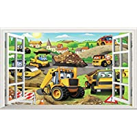 Chicbanners My First JCB Digger Diggers 3D Wall Crack V101 3D Wall Smash Magic Window Wall Sticker Self Adhesive Poster Wall Art size 1000mm wide x 600mm deep (large)