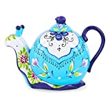 Artvigor, Porzellan Kaffeekanne 1,2 Liter, Handbemalt Teekanne, Schnecke Design, Geschenkverpackung