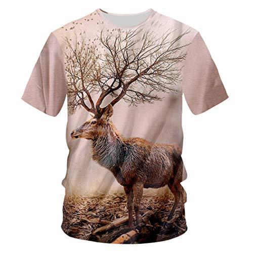 Herren Tier Sommer 3D gedruckt Wapiti Muster Wild Goose O Neck T-Shirt Wapiti 7XL