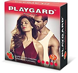 Playgard More Play Superdotted Condoms - 3 Count (Pack of 10, Strawberry)
