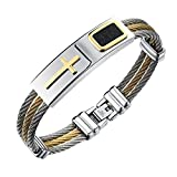 iLove EU, bracciale in vera pelle e acciaio inox con crocifisso (colore: oro, argento e nero)