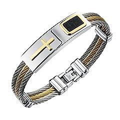 Idea Regalo - iLove EU, bracciale in vera pelle e acciaio inox con crocifisso (colore: oro, argento e nero)
