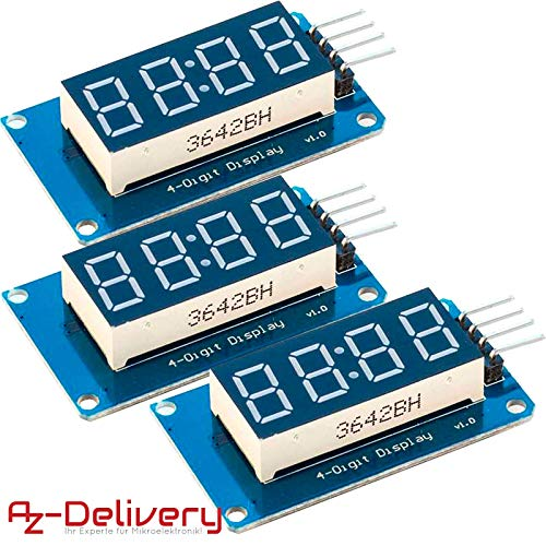 AZDelivery ⭐⭐⭐⭐⭐ 3 x 4 Bit Digital Tube LED Display Modul I2C mit Clock Display für Arduino und Raspberry Pi (3 Stück) mit gratis eBook! -