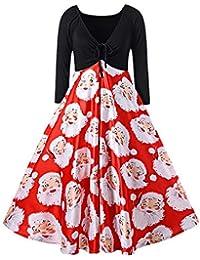 ... Damen   Kleider. Damenmode Kleid mit Langen Ärmeln - Santa Print V Neck  Weihnachten Swing Rock 15745eeda0