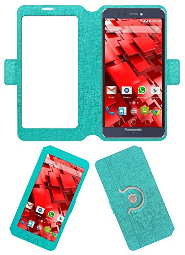 Acm SVIEW Window Designer Rotating Flip Flap Case for Panasonic P55 Novo Mobile Smart View Cover Stand Turquoise