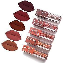 5 Colors Matte Lipstick Set, FOXTSPORT Super Stay Pintalabios Mate Larga Duracion Labial Permanente Maquillaje de Profesional para Niñas, 5pcs