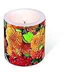 1 candela fiori frutti autunnali decorazione diametro 9 cm x 10 cm