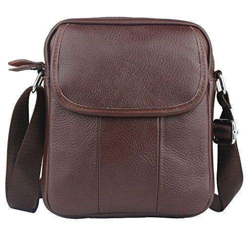 CMXSEVENDAY NOB002 Echtes Leder Herren Schultertasche Messenger Bags Männer Umhängetasche mit Nylon Schultergurt - Braun