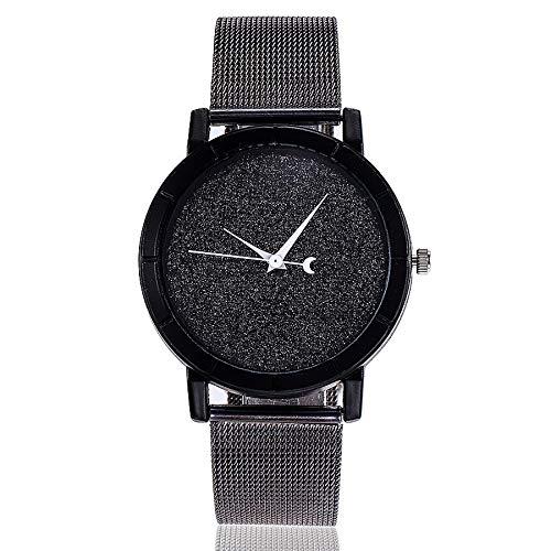 Minimalistisch Armbanduhren, Damen Uhren Analog Quarz mit Mesh Edelstahl Ultradünne Beiläufig Mädchen Kleid Quarzuhr LEEDY Prince Black Jacke