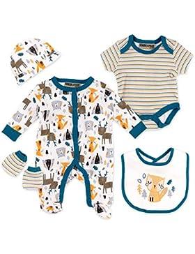Honour & Pride Baby Set Jungen bunt | Motiv: Waldtiere | 5 Teile Strampler, Body, Mütze, Handschuhe, Latz für...