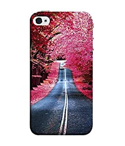 Fuson Designer Back Case Cover for Apple iPhone 4S (Painting Scenery Tree Lined Roads )